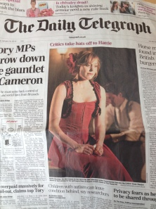 Hattie Morahan as Nora, on the front page of today's Daily Telegraph