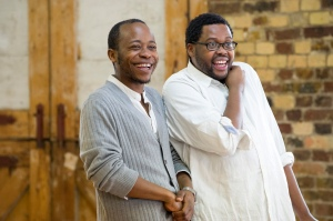 Tonderai Munyevu and Sibusiso Mamba in rehearsals for Sizwe Banzi is Dead. Photo by Richard Hubert Smith.