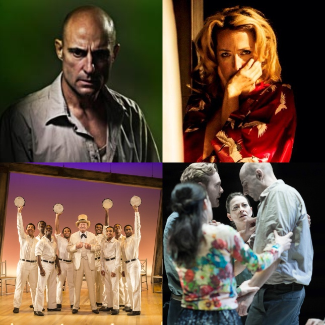 2014 Evening Standard Award nominees, clockwise from top left: Mark Strong, Gillian Anderson, the cast of Ivo van Hove's A View from the Bridge and The Scottsboro Boys
