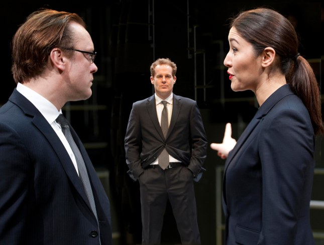 Sam Troughton, Adam James, Eleanor Matsuura in Bull at the Young Vic. Photo by Simon Annand.