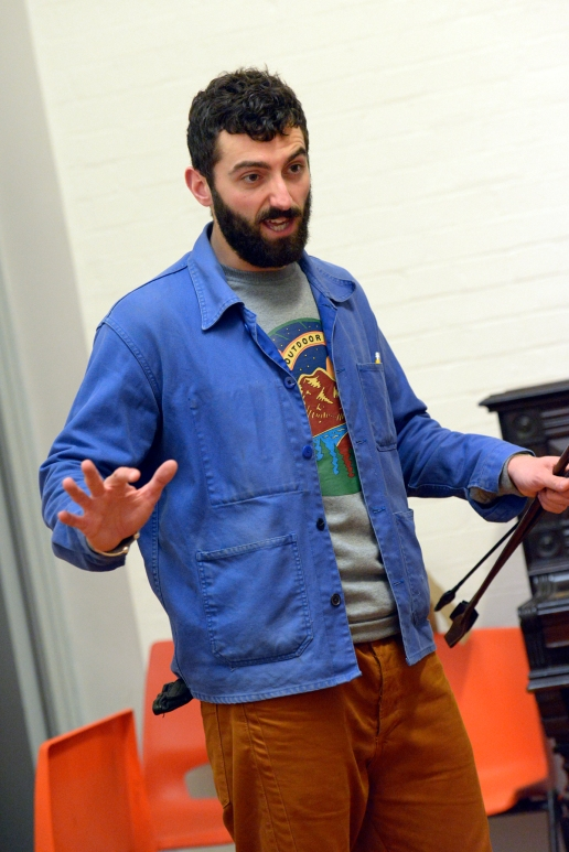Marc Antolin in rehearsal for The Trial at the Young Vic. Photo by Keith Pattison