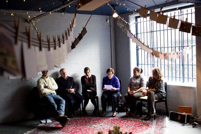 People sharing stories in Platform Southwark