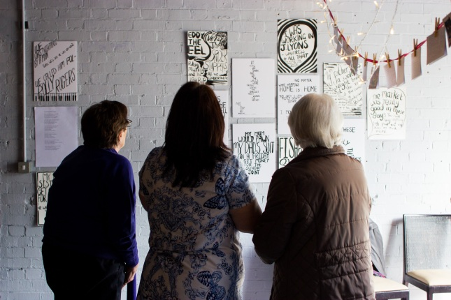 Drawings, quotes and caligraphy were hung on the walls of Platform Southwark