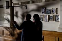 Director Paul Mason on Astoria set with July Namir as LILIANE. Photo by Leon Puplett.