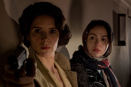 Sonya Cassidy as ELIZSEVA and July Namir as LILIANE on set of Astoria. Photo by Leon Puplett.
