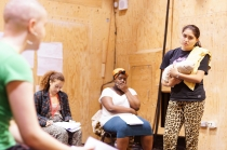 Cast members of Parallel Yerma in rehearsals.
