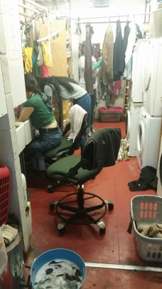 Wardrobe staff doing the laundry