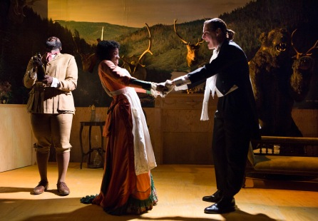 George Ikediashi, Kamari Romeo & Rebecca Root in The Bear The Proposal at the Young Vic © Ellie Kurttz (2)