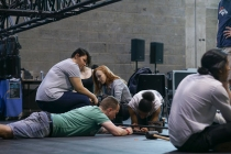 Backstage Pass participants learn stage craft from YV Production team. Photo by Leon Puplett