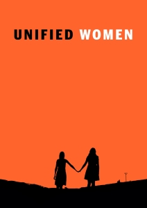 Unified Women artwork. Orange background with silhouettes of two young women standing outside holding hands.
