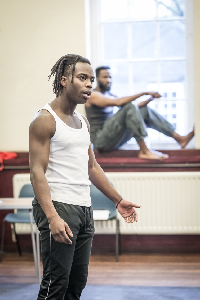 Jonathan Ajayi in rehearsal for The Brothers Size © Marc Brenner