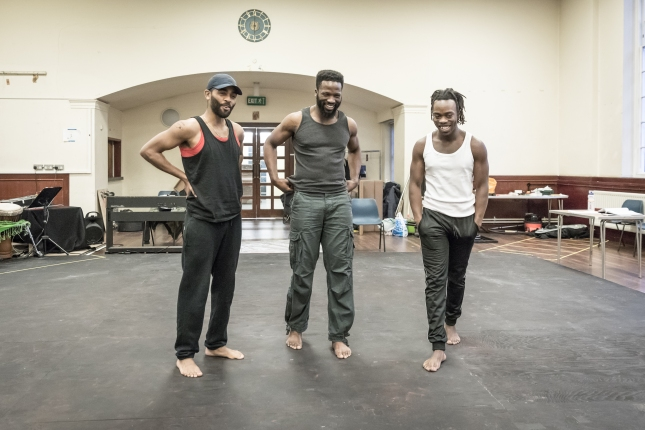 (LtoR) Anthony Welsh, Sope Dirisu and Jonathan Ajayi in rehearsal for The Brothers Size © Marc Brenner
