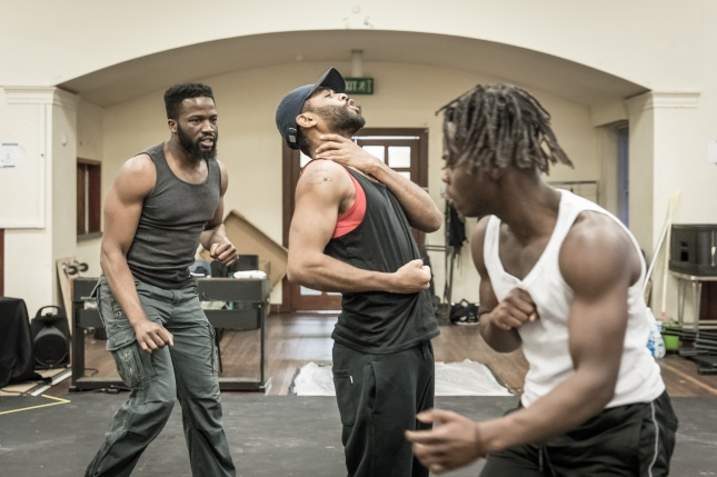 (LtoR) Sope Dirisu, Anthony Welsh and Jonathan Ajayi in rehearsal for The Brothers Size © Marc Brenner
