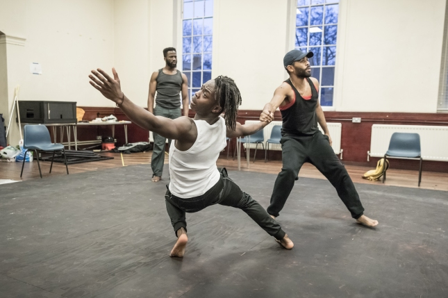 (LtoR) Sope Dirisu, Jonathan Ajayi and Anthony Welsh in rehearsal for The Brothers Size © Marc Brenner (2)