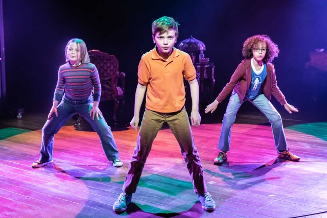 Harriet Turnbull, Eddie Martin and Archie Smith in Fun Home at the Young Vic. Photo by Marc Brenner
