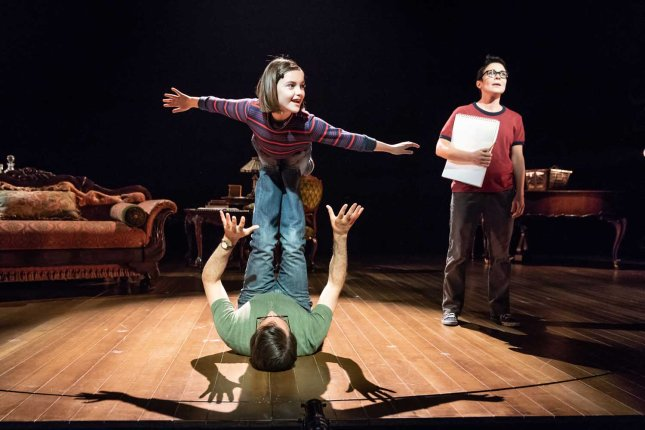 Brooke Haynes, Kaisa Hammalund and Zubin Varla in Fun Home at the Young Vic