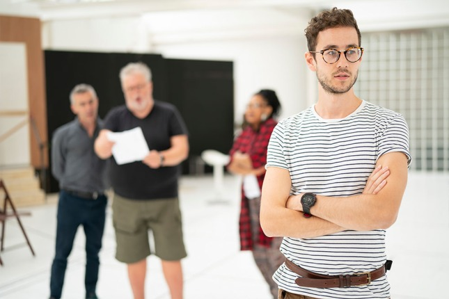 Silas Wyatt-Barke (Sir Andrew Aguecheek) inside the Twelfth Night rehearsal room