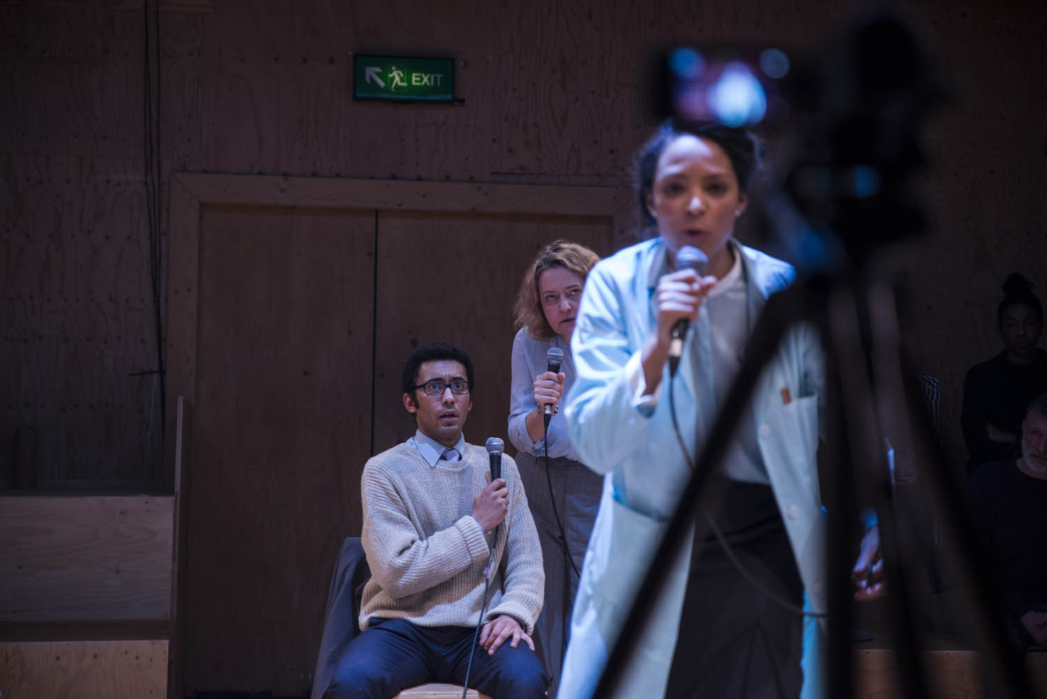 Zach Wyatt, Lucy Briers & Kemi-Bo Jacobs in Wild East at the Young Vic. Photo by Gabriel Mokake.